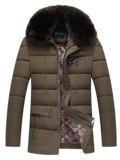 Quilted Col En Fausse Fourrure Zip Coat Up - Brun 2xl
