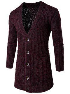 Pocket Button Front V Neck Knitted Cardigan - Burgundy L
