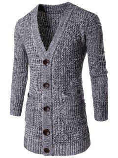 Pocket Button Front V Neck Knitted Cardigan - Light Gray L
