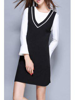 Mini Dress With Flare Sleeve T-Shirt - White And Black 2xl