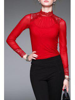 Collar Del Soporte De Panel De Encaje Tee - Rojo M