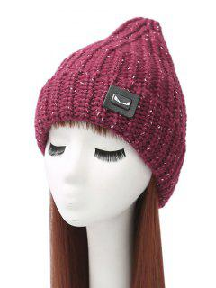 Demon Label Flanging Knit Hat - Wine Red