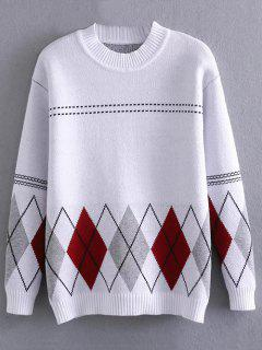 Argyle Jacquard Mock Neck Sweater - White