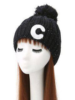 Letter C Pom Ball Knitted Beanie - Black