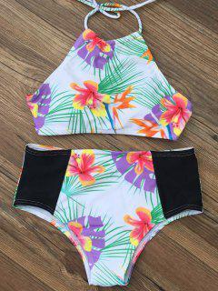 High Waist Tropical Print Bikini Set - White Xl