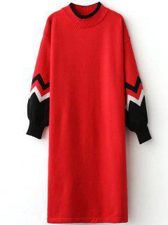 Pull Robe De Zigzag à Ras Du Cou - Rouge