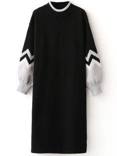 Pull Robe De Zigzag à Ras Du Cou - Noir
