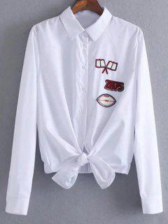 Chemise Copain à Patché De Cou Liée - Blanc L