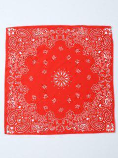 Paisley Floral Printed Bandana - Red