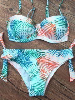 Gathered Tropical Print Bikini Set - Green S