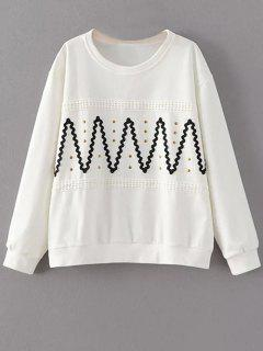 Col Rond Riveté Sweat-shirt Zig-zag - Blanc S