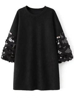 Sequins Faux Suede Shift Dress - Black M