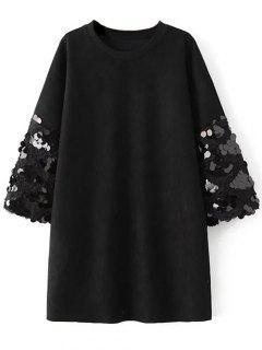 Robe Droite Ras Du Cou En Imitation Daim Ornée De Sequins - Noir M