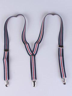 Striped Adjustable Three Clips Elastic Suspenders - Purplish Blue