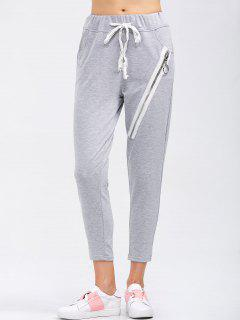 Drawstring Running Pants With Zipper - Light Gray S