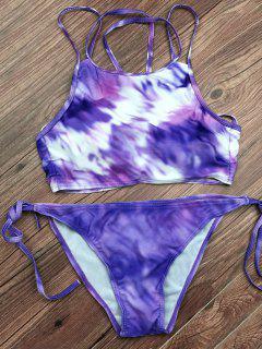 Tie Dyed String Bikini Set - Light Purple S
