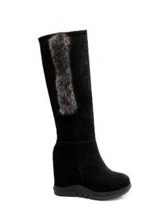 Faux Fur Mid Calf Hidden Wedge Boots - Black 38