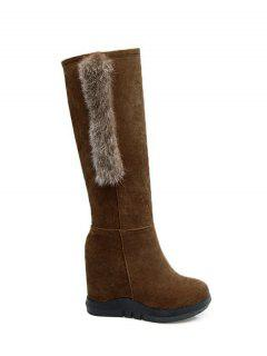 Faux Fur Mid Calf Hidden Wedge Boots - Deep Brown 38