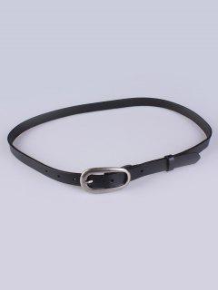 Faux Leather Pin Buckle Skinny Belt - Black