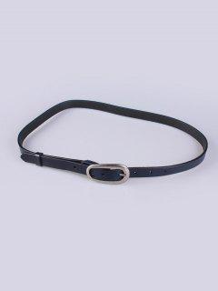 Imitación De Cuero Hebilla Cinturón Fino - Azul Profundo