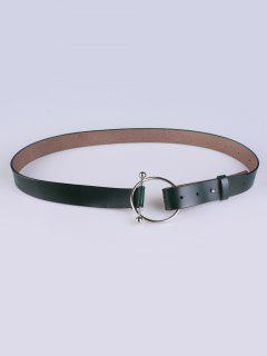 Skinny Round Buckle Faux Leather Belt - Deep Green