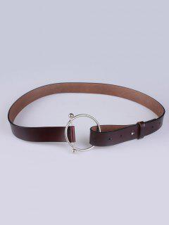 Skinny Round Buckle Faux Leather Belt - Coffee