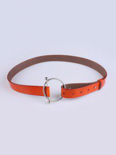 Skinny Round Buckle Faux Leather Belt - Jacinth