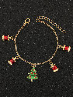 Christmas Tree Rhinestone Charm Bracelet - Golden