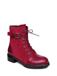 Buckle Strap Suede Panel Combat Boots - Red 38