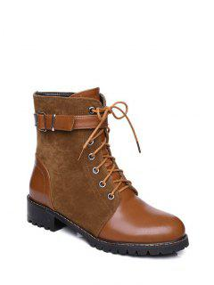 Buckle Strap Suede Panel Combat Boots - Brown 37