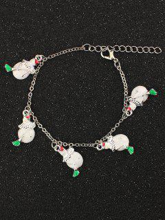 Bracelet à Breloques De Bonhommes De Neige De Noël - Blanc