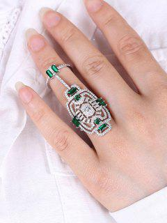 Engraved Rhinestoned Geometric Hollow Out Ring - Silver One-size