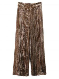 Velvet Pleated Pants - Khaki S