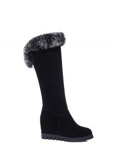 Mid Calf Hidden Wedge Furry Boots - Black