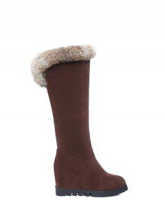 Mid Calf Hidden Wedge Furry Boots - Deep Brown