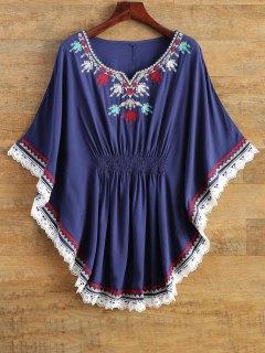 Chemise à Style Kaftan Brodée En Dentelle  - Bleu Violet