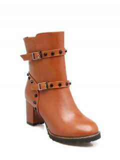 Buckle Straps Rivet Chunky Heel Boots - Brown 38