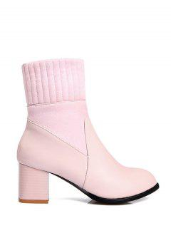 Suede Panel Chunky Heel Boots - Pink 37