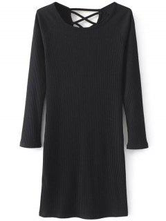 Strappy Long Sleeve Ribbed Sweater Dress - Black S