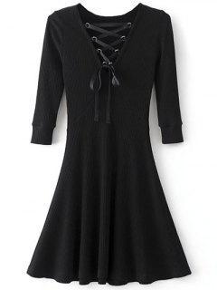 Ate Para Arriba Vestido De Tejido Acanalado Cuello V - Negro S