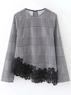 Houndstooth Lace Panel Blouse - White And Black M