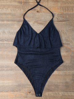 Halter Flounce Ruffles Bodysuit - Deep Blue S