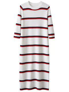 Crew Neck Striped Jumper Dress - White