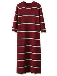 Crew Neck Striped Jumper Dress - Burgundy