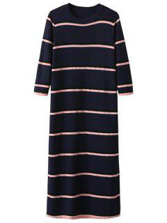 Crew Neck Striped Jumper Dress - Purplish Blue