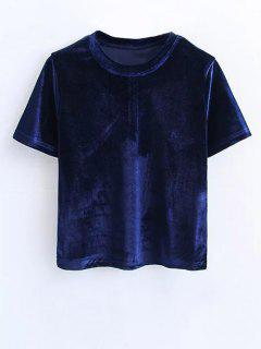 Short Sleeve Velvet Tee - Purplish Blue M