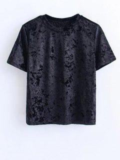 Short Sleeve Velvet Tee - Black M