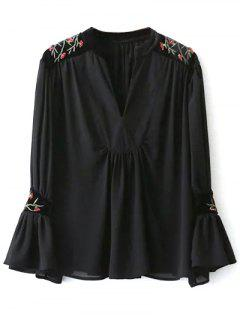 Embroidered Velvet Panel Blouse - Black M