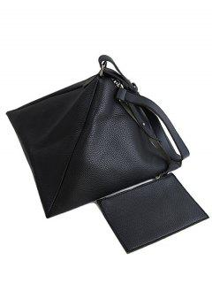 Triangle Shaped Textured Shoulder Bag - Black
