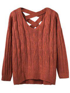 Cable Knit V Neck Chunky Sweater - Spice